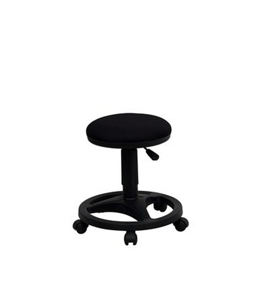Black Ergonomic Stool with Foot Ring [WL-905DG-GG] FLFWL-905DG-GG