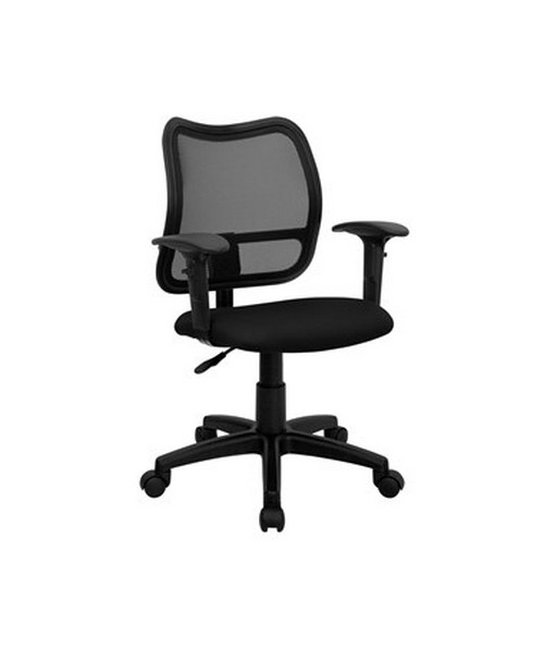 Mid-Back Mesh Task Chair with Black Fabric Seat and Arms [WL-A277-BK-A-GG] FLFWL-A277-BK-A-GG