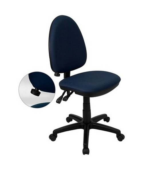 Mid-Back Navy Blue Fabric Multi-Functional Task Chair with Adjustable Lumbar Support [WL-A654MG-NVY-GG] FLFWL-A654MG-NVY-GG