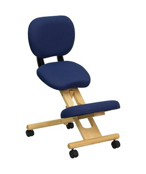 Mobile Wooden Ergonomic Kneeling Posture Chair in Navy Blue Fabric with Reclining Back [WL-SB-310-GG] FLFWL-SB-310-GG
