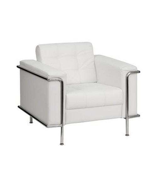 HERCULES Lesley Series Contemporary White Leather Chair with Encasing Frame [ZB-LESLEY-8090-CHAIR-WH-GG] FLFZB-LESLEY-8090-CHAIR-WH-GG