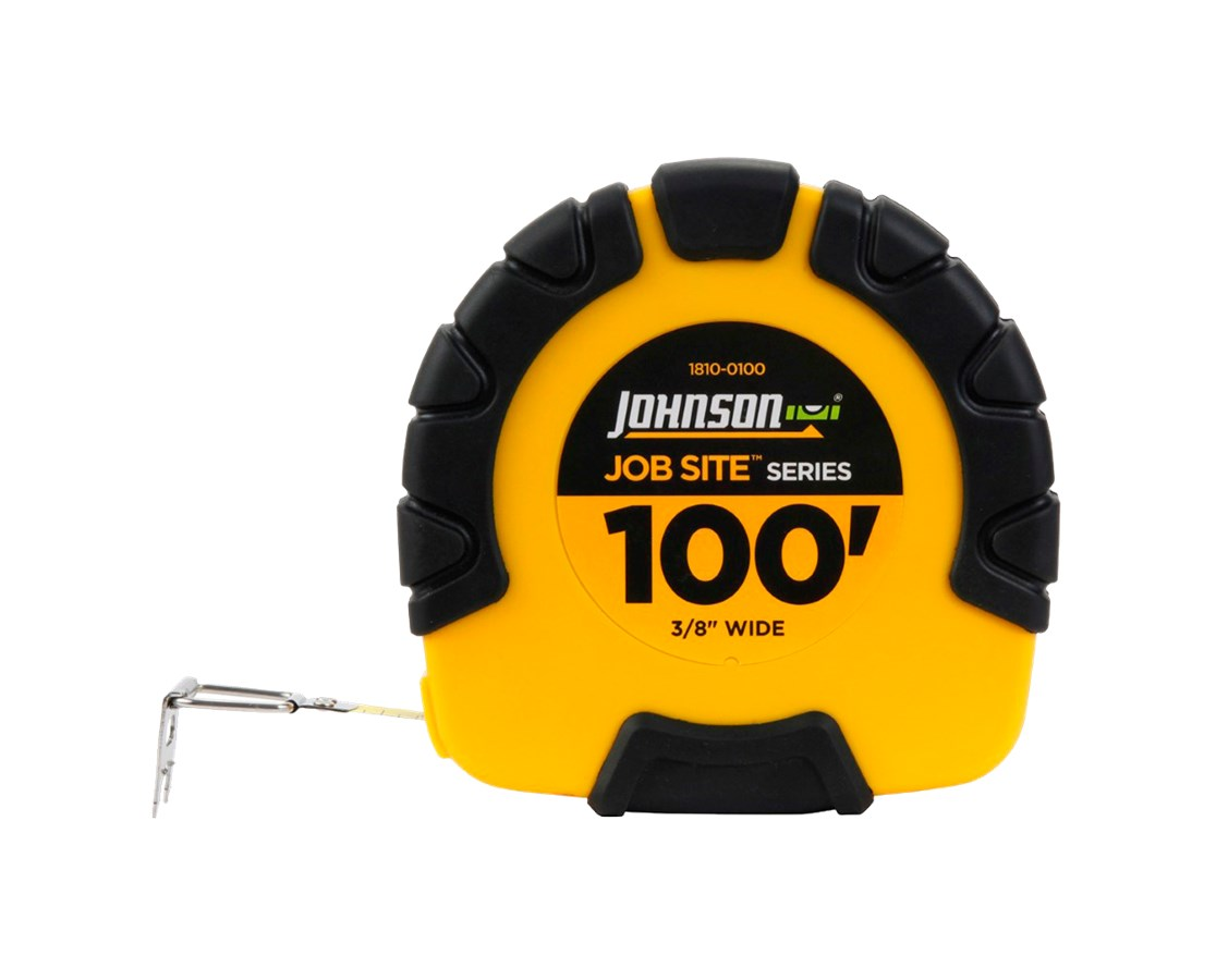 Johnson Level 100' Job Site Geared Closed Case Steel Tape JOH1810-0100