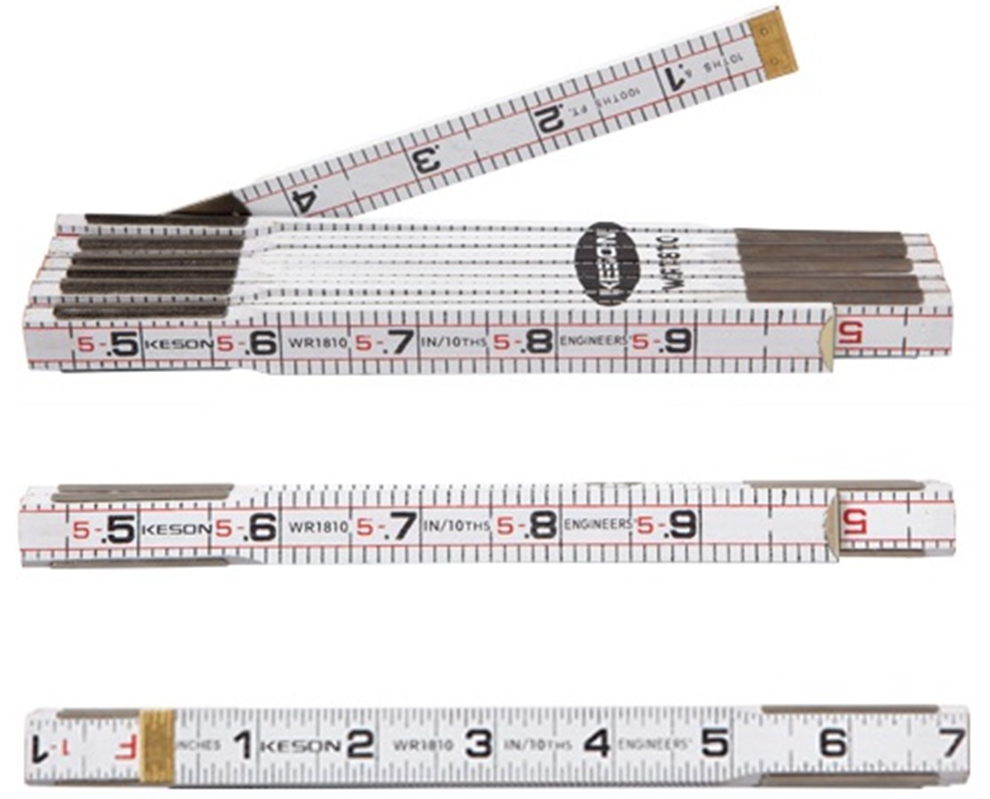 Keson 6-Foot Engineer's Folding Ruler, White Wood (10-Pack)