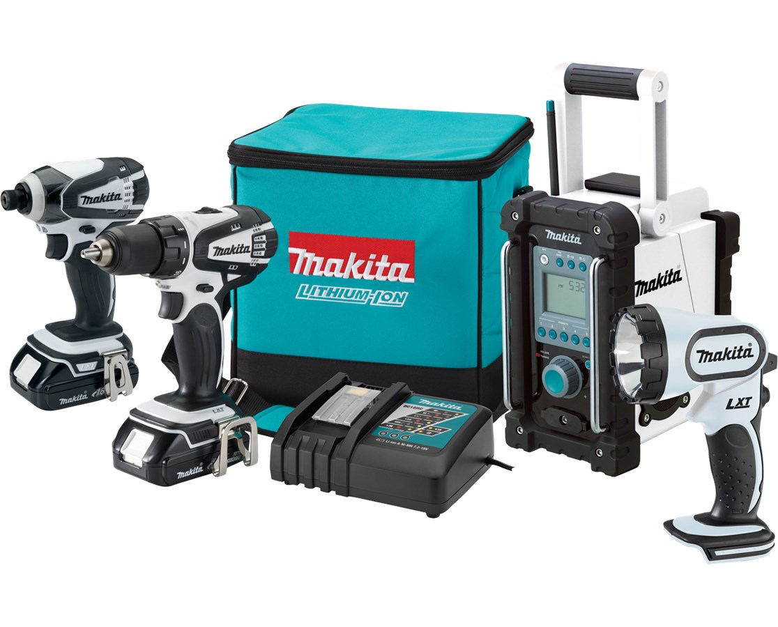 Makita LCT400W 18V Compact Lithium-Ion Cordless 4-Pc. Combo Kit LXFD01CW, BTD142HW, BML185W, BMR100W MAKLCT400W