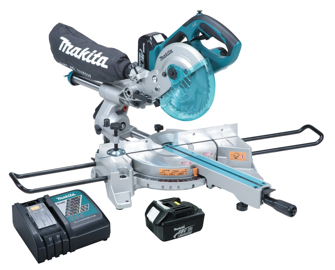 "Makita 18V LXT Lithium-Ion Cordless 7-1/2"" Dual Slide Compound Miter Saw MAKLXSL01-"
