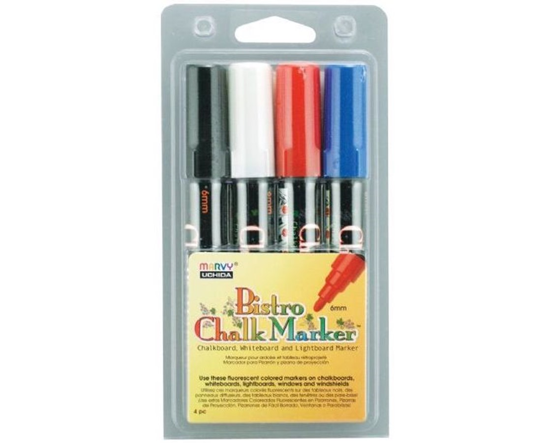 Marvy Bistro Chalkboard and Light Board Marker 4-Color Set MR4800