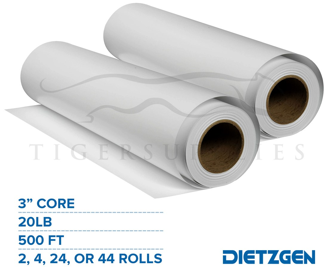 "Dietzgen Engineering Bond Paper, 20 lb, 3"" Core, 500ft. Rolls PAPD430C18L-2B-"