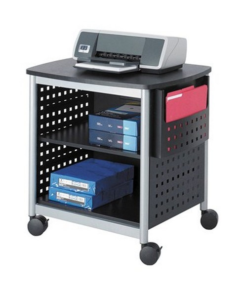 SAFCO1856BL-Scoot™ Desk-Side Printer Stand Black/Silver SAF1856BL
