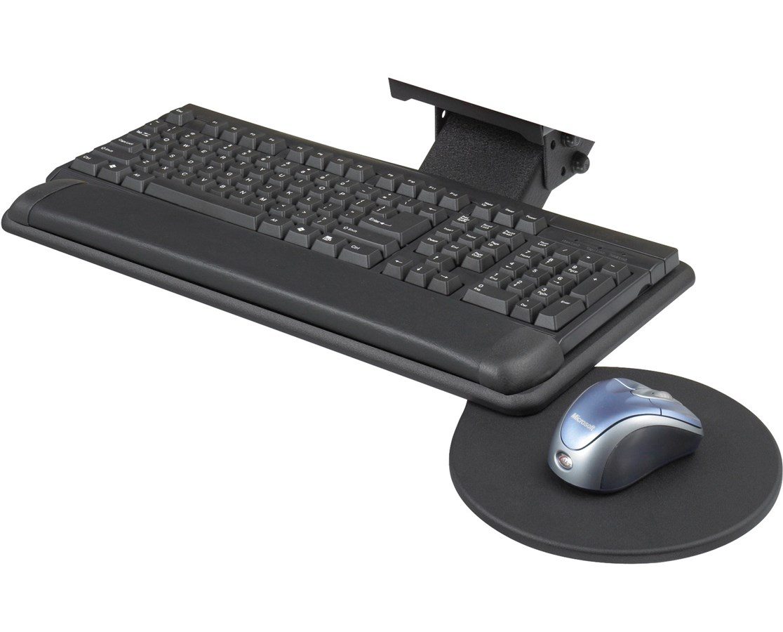 Safco Adjustable Keyboard Platform with Swivel Mouse Tray SAF2135BL