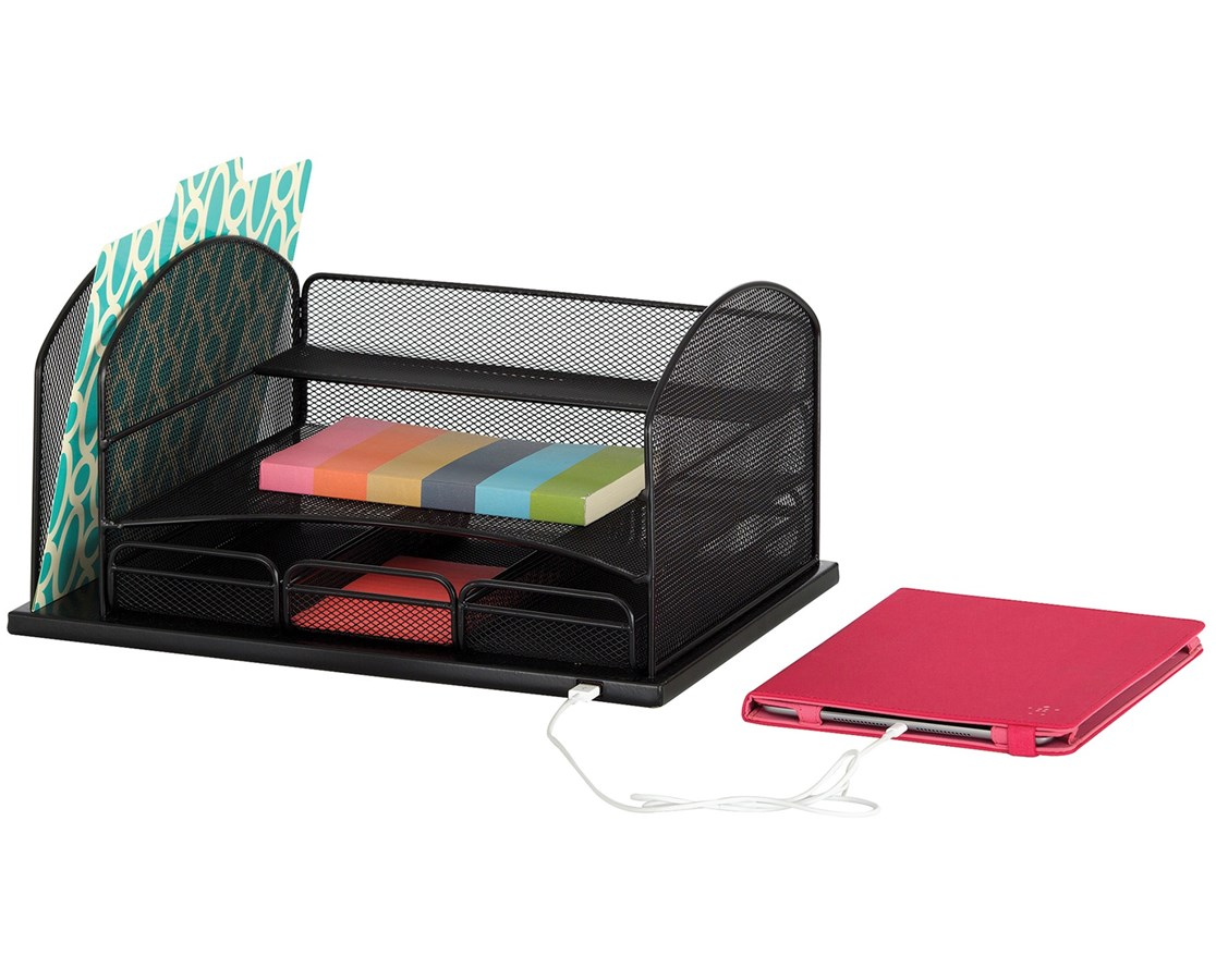Safco Powered Onyx Organizer With 3 Drawers SAF3223BL