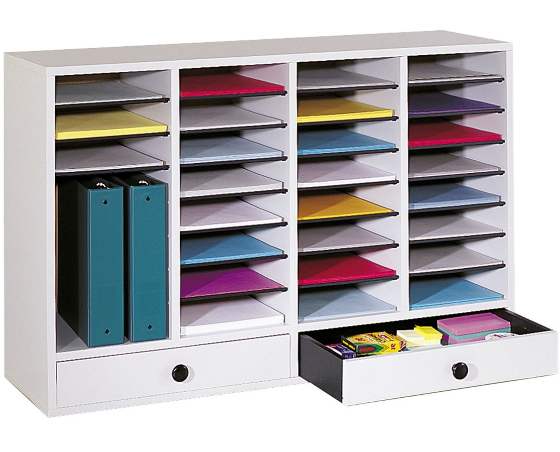 Safco Wood Adjustable Literature Organizer with Drawers