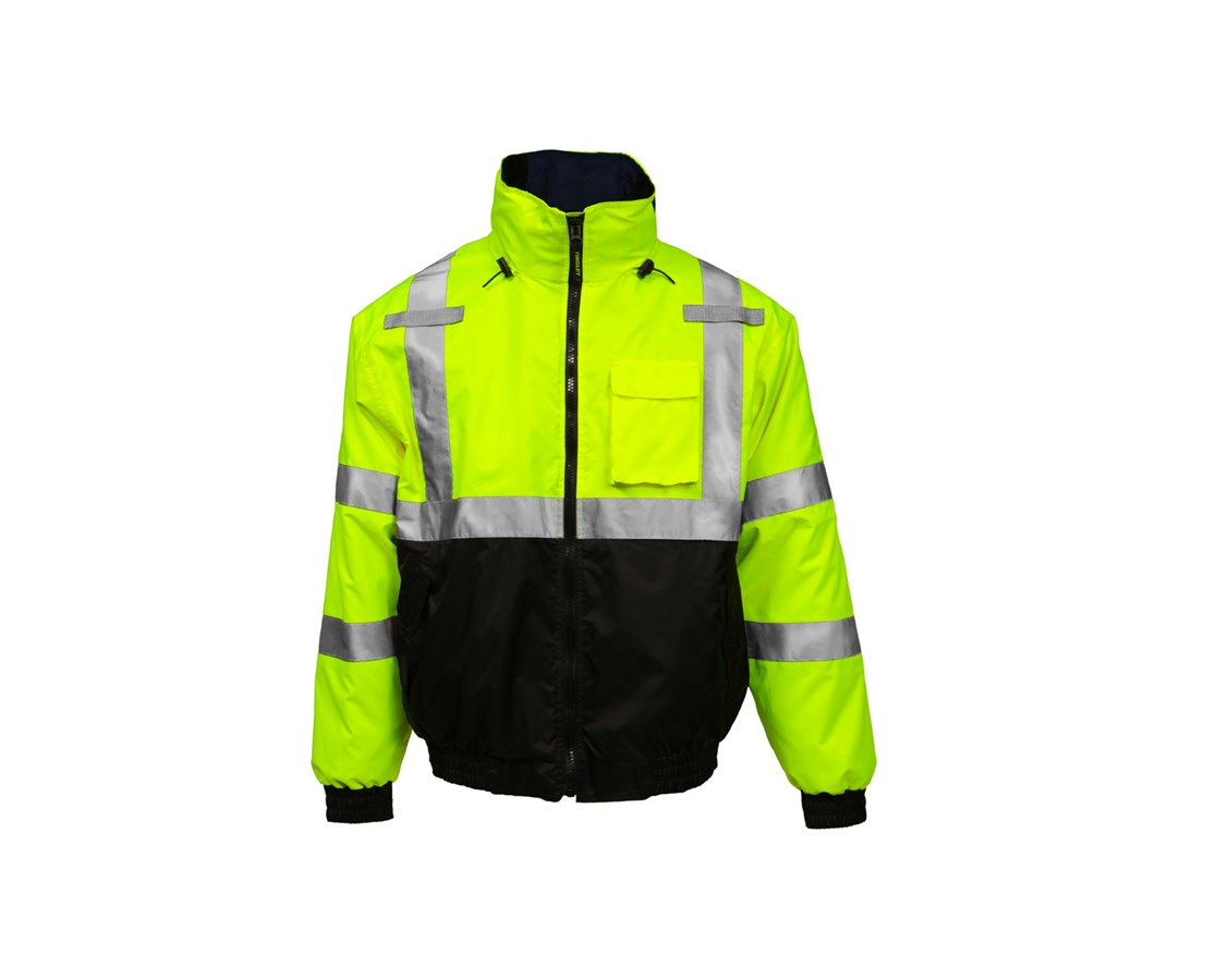 ANSI Compliant High Visibility Jacket with Removable Liner