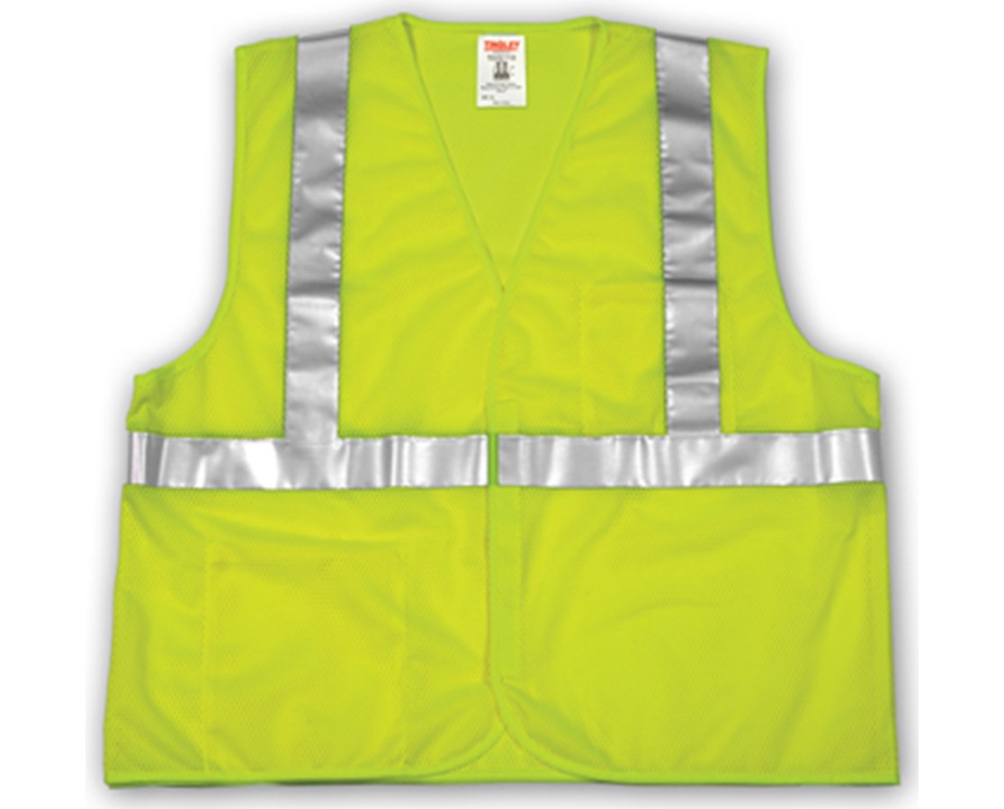 "ANSI 107 CLASS 2 SAFETY VESTS - Fluorescent Yellow-Green Mesh- 2"" Reflective Tape- Hook&Loop Closure TINV70622"