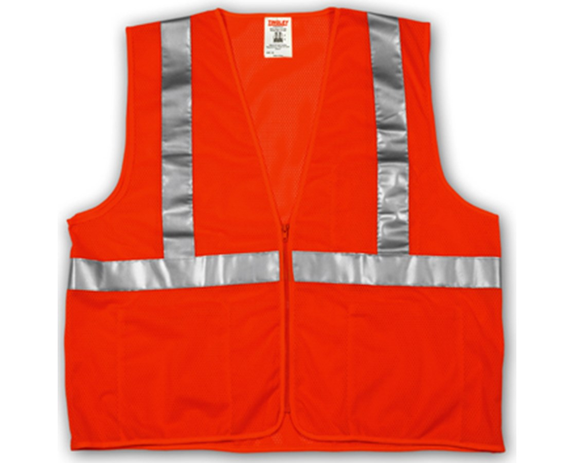 "ANSI 107 CLASS 2 SAFETY VESTS - Fluorescent Orange-Red Mesh - 2"" Reflective Tape - Zipper Closure TINV70639"