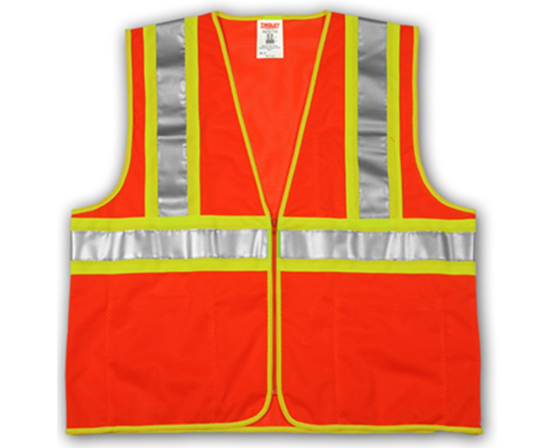 "ANSI 107 CLASS 2 SAFETY VESTS - Fluorescent Orange-Red - Mesh - Two-Tone - 2"" Silver Reflective Tape TINV70649"
