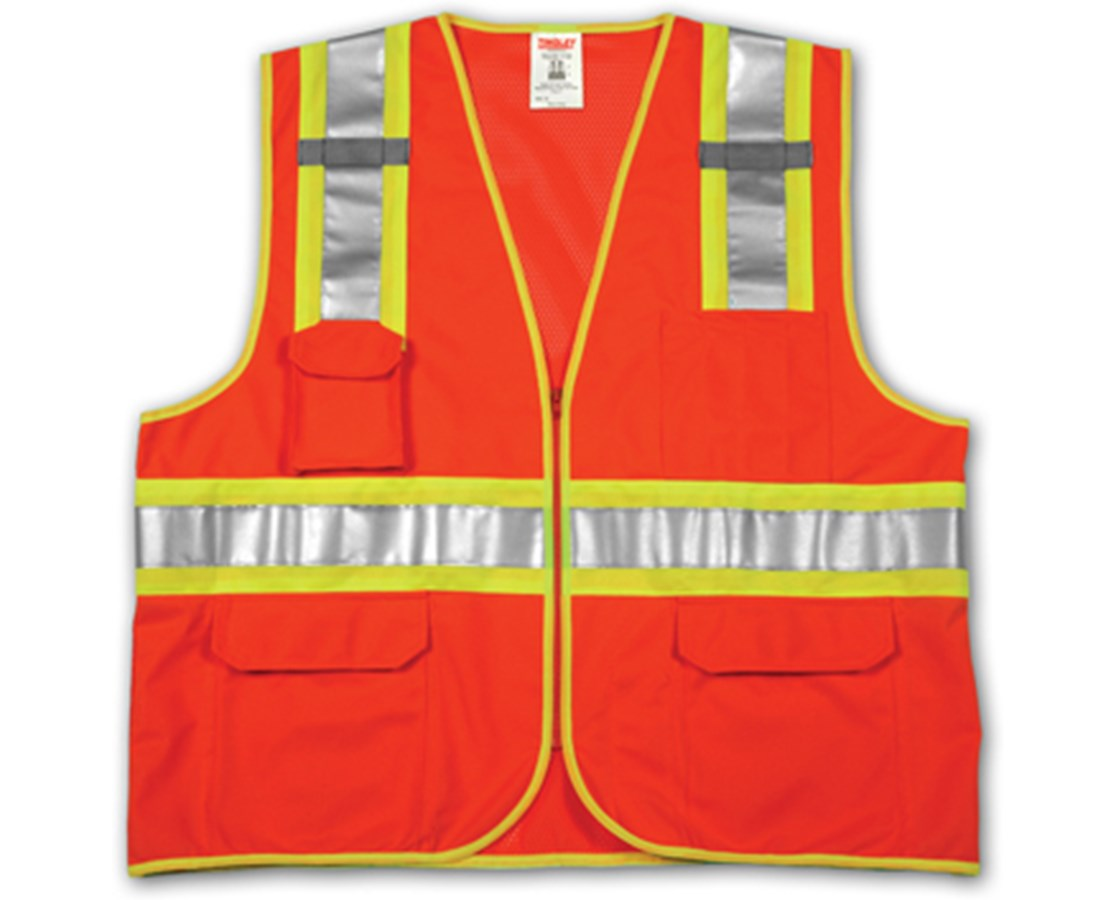 TINGLEY ANSI 107 CLASS 2 SAFETY VESTS - Fluorescent Orange-Red Solid/Mesh Two-Tone - H Pattern - 2 Mic Tabs TINV73859