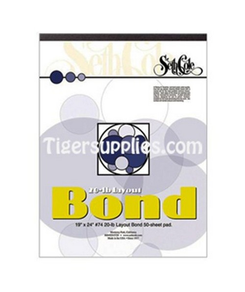SETH COLE LAYOUT BOND PAPERS PAD 19X24 ,50 SHEET,20LB, SC74C