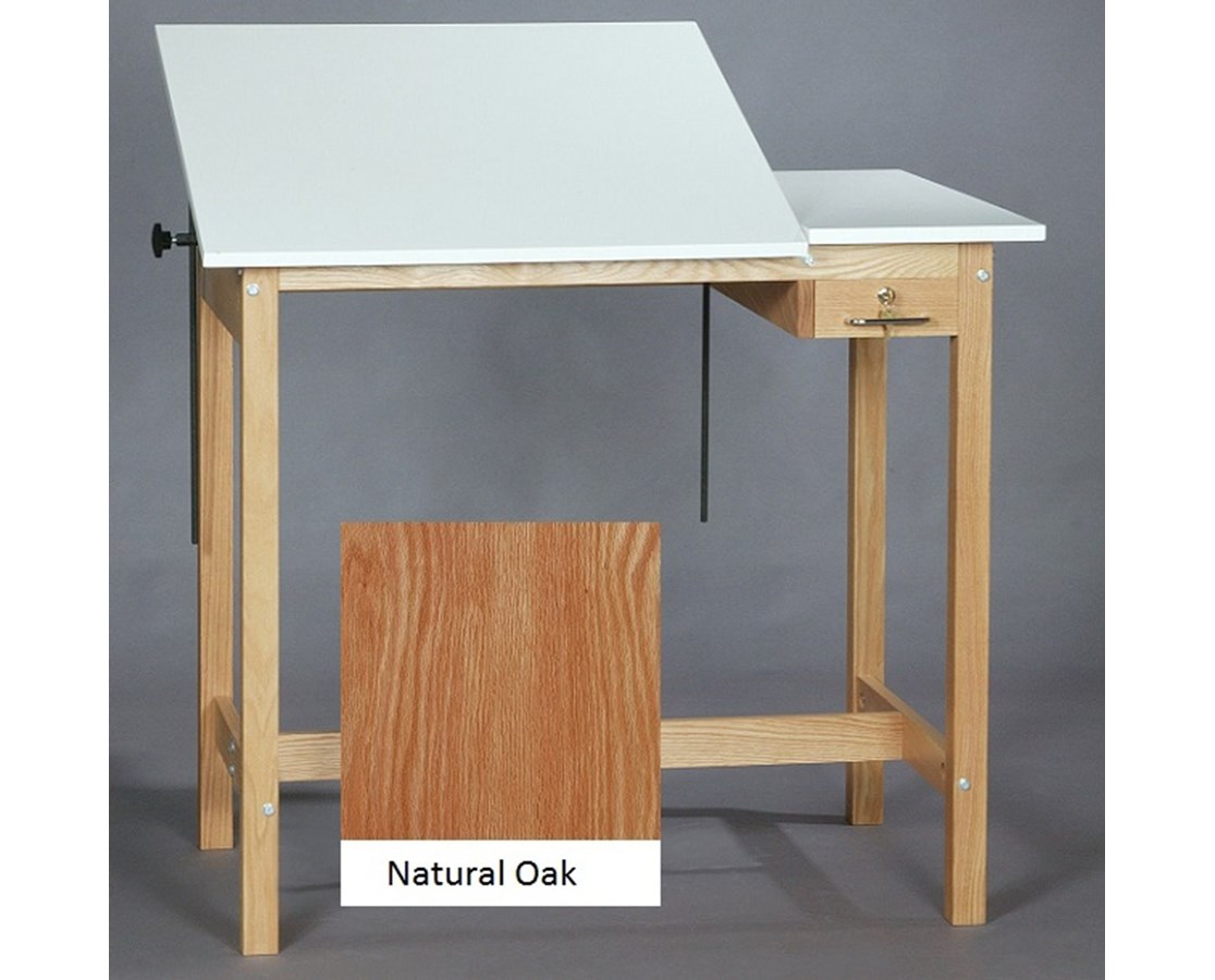 SMI Pacific Natural Oak Split Top Drawing Table F2436 STA