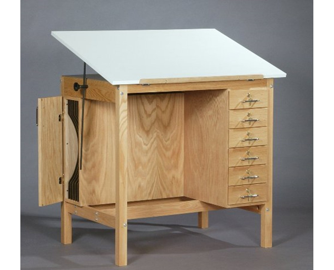 SMI Oak Drafting Table with 6 Drawers F3042 HST