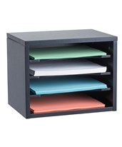 Stackable Desk Organizer with Curved Edge Removable Shelves 502-01-BLK