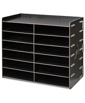12-Compartment Paper Sorter 503-12-BLK