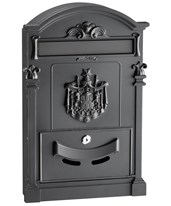AdirHome Coat of Arms Rustic Mailbox 631-0805-BLK