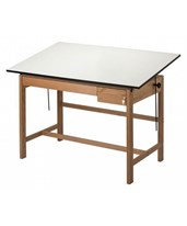 Alvin Titan II Solid Oak Drafting Table with 2 Drawers WLB60