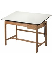 Titan II Solid Oak Drafting Table with 2 Drawers WLB60