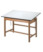 Titan Solid Oak Wood Drafting Table With Drawer WTB42