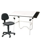 Alvin CC Series Creative Center White Base Onyx Drafting Table with Chair CC2017E
