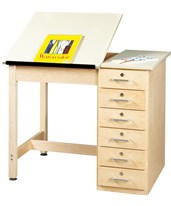 Woodcrafts Art and Drafting Table with Drawers DT-4SA