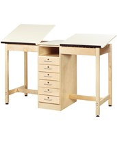 Woodcrafts 2-Station Drafting Table with Book Compartment DTA-21A