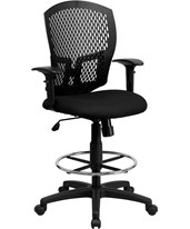 Mesh Full Back Drafting Chair with Arms WL-3958SYG-BK-AD-GG