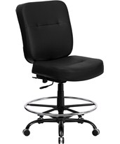 Hercules Leather Drafting Chair WL-735SYG-BK-LEA-D-GG