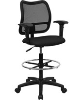 Mesh Drafting Chair with Arms WL-A277-BK-AD-GG