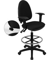Drafting Chair with Arms and Lumbar Support WL-A654MG-BK-AD-GG