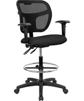 Mid-Back Drafting Chair with Arms WL-A7671SYG-BK-AD-GG