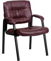 Burgundy Leather Guest / Reception Chair with Black Frame Finish BT-1404-BURG-GG
