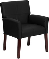 Black Leather Executive Side Chair or Reception Chair with Mahogany Legs BT-353-BK-LEA-GG