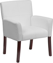 White Leather Executive Side Chair or Reception Chair with Mahogany Legs BT-353-WH-GG