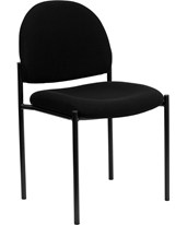 Black Fabric Comfortable Stackable Steel Side Chair BT-515-1-BK-GG