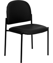 Black Vinyl Comfortable Stackable Steel Side Chair BT-515-1-VINYL-GG
