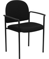 Black Fabric Comfortable Stackable Steel Side Chair with Arms BT-516-1-BK-GG