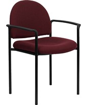 Burgundy Fabric Comfortable Stackable Steel Side Chair with Arms BT-516-1-BY-GG