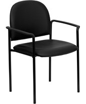 Black Vinyl Comfortable Stackable Steel Side Chair with Arms BT-516-1-VINYL-GG