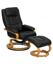 Contemporary Black Leather Recliner and Ottoman with Swiveling Maple Wood Base BT-7615-BK-CURV-GG