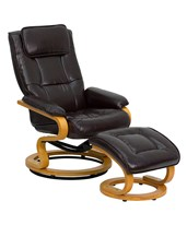 Contemporary Brown Leather Recliner and Ottoman with Swiveling Maple Wood Base BT-7615-BN-CURV-GG