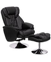 Transitional Black Leather Recliner and Ottoman with Chrome Base BT-7807-TRAD-GG
