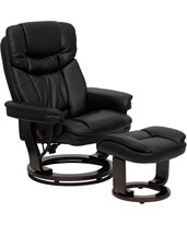 Contemporary Black Leather Recliner & Ottoman w/ Swiveling Mahogany Wood Base BT-7821-BK-GG