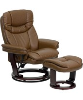 Contemporary Palimino Leather Recliner & Ottoman w/ Swiveling Mahogany Wood Base BT-7821-PALIMINO-GG
